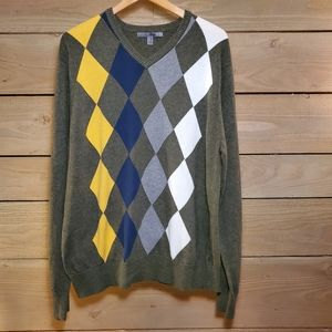 Old Navy Multi-Color Argyle Men's V-Neck Sweater